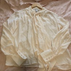 Forever 21 White bow tie blouse